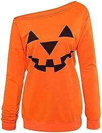 womens halloween sweatshirts tops pumpkin face shirt in orangeblack