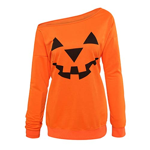 Niyage Women's Halloween Sweatshirts Pumpkin Face Shirt Easy Costume Fun Tops Off Shoulder-Orange XL ()