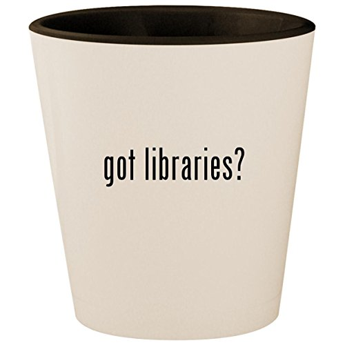 got libraries? - White Outer & Black Inner Ceramic 1.5oz Shot Glass