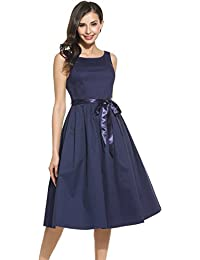 Women's Slimming V Neck Wrap Around Crossover Sleeveless Ruched Waist A Line Cocktail Casual Swing Midi Dress