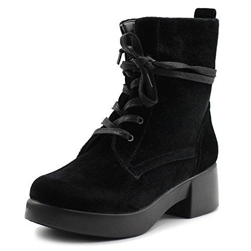 Ollio Women's Shoes Velvet Lace Up Ankle Bootie Combat Boots TWB0109 (9 B(M) US, Black)