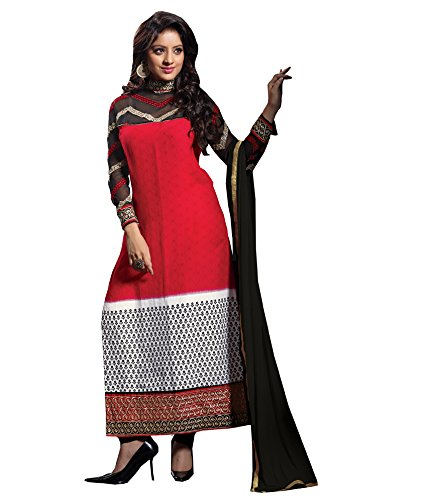 Vibes Women's Gorgette Salwar Suit Dress Material – Free Size, Red
