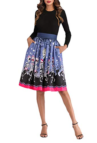 Haloolo Women Ladies Party Cocktial Costumes Halloween Day Skull Pleated Flared Swing Midi Pocket Skirt -