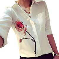 Women Long Sleeve Rose Flower Shirts Turn Down Collar Chiffon Blouse by TOPUNDER