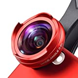 Kathleen Chance Smartphones 2 in 1 Smartphone Camera Lens Wide Angle Lens & Macro Lens for iPhone Samsung Android Most (Color : Red)