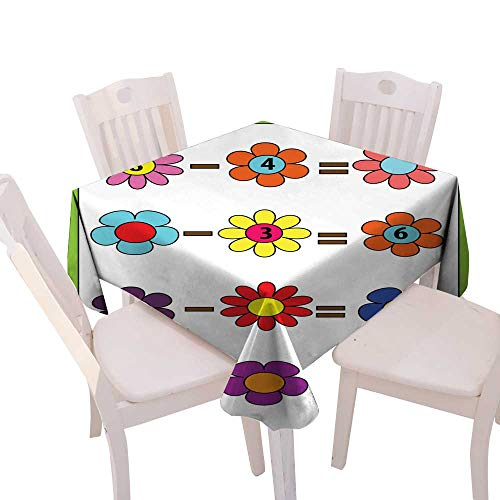 longbuyer Wrinkle Free Tablecloths Math Educational Game for Children Counting Equations Subtraction worksheet Square Tablecloth W 54