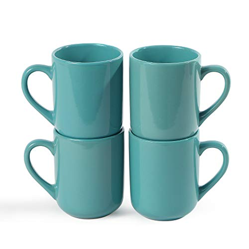 (CeramicHome 12oz Porcelain Mugs,Coffee Mug (set of 4), Stoneware Teal Mug,Drinking Cups (Teal Blue))
