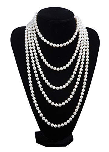 1920s Pearls Necklace Gatsby Accessories Vintage Costume Jewelry Faux Ivory Pearl Cream Long Necklace for Women -