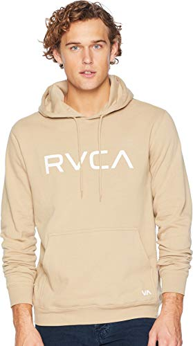 RVCA Men's Big Logo Pullover Hoodie, Khaki, L