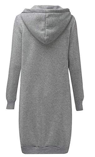 E Donna Autunno Con Solido Cappuccio Felpa Gray inverno Da Cerniera Lejorce wnEOBqxx8