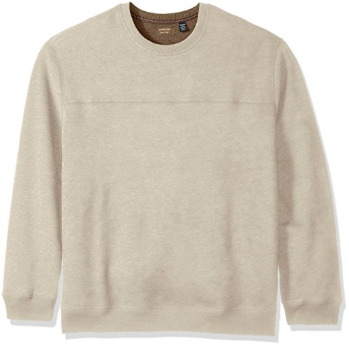 Arrow Men's Big and Tall Long Sleeve Sueded Fleece Crew, Deep Rock Heather, X-Large Tall (Signature Sueded Finish)