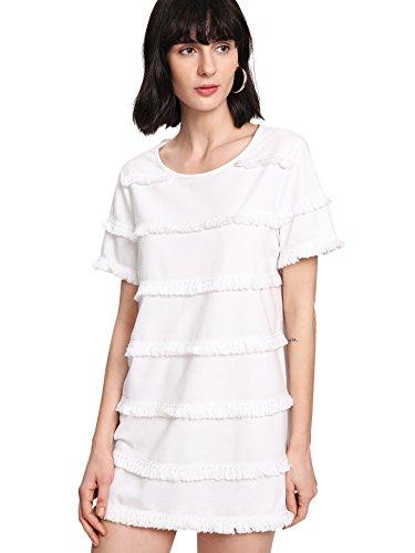 Romwe Women's Cute Summer Mini Fringe Tshirt Dress White L