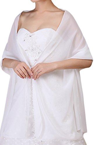 Alivila.Y Fashion Organza Soft Long Wrap Scarf Shawl-White Chiffon-1669