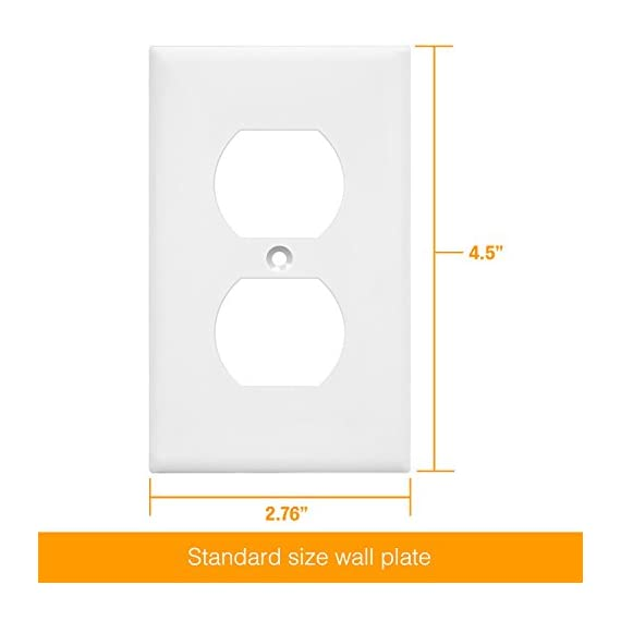 """ENERLITES - FBA_8821-W Enerlites Duplex Wall Plates Kit , model 8821-W Home Electrical Outlet Cover, 1-Gang Standard… 6 Made of polycarbonate thermoplastic material to provide durability, flexibility, and resilience to withstand hard impacts and heavy force Heat & fade resistant to temperatures over 100 degrees which protects them against discoloration and fading over time. Flammability UL94, V2 rating Easy replacement of any wall plate of the same configuration. Dimensions: 4. 50"""" height x 2. 76"""" length"""