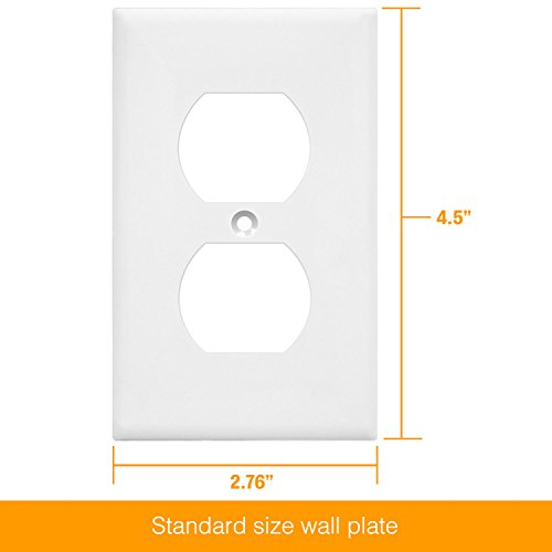 ENERLITES Duplex Receptacle Outlet Wall Plate, Size 1-Gang 4.50'' x 2.76'', Polycarbonate Thermoplastic, 8821-W-10PCS, White (10 Pack) by ENERLITES (Image #5)