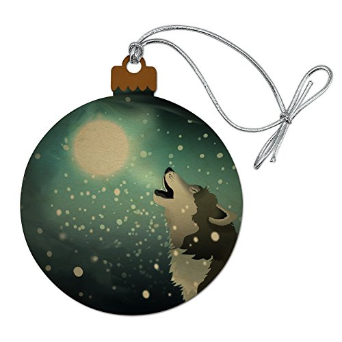 GRAPHICS & MORE Howling Wolf with Moon and Snow Wood Christmas Tree Holiday Ornament