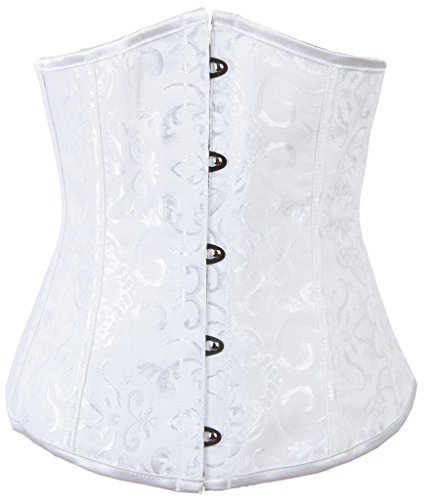Alivila.Y Fashion Womens Plus Size Brocade Underbust Boned Corset Waist Trainer 2686-WHITE-6XL -