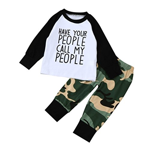 Newest Baby Boy T shirt Tops+Camouflage Pants Outfits Clothes Set (80, White)