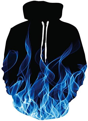 Loveternal Unisex 3D Druck Hoodie Kapuzenpullover Langarm Pullover Sweatshirt mit Taschen S-XXL