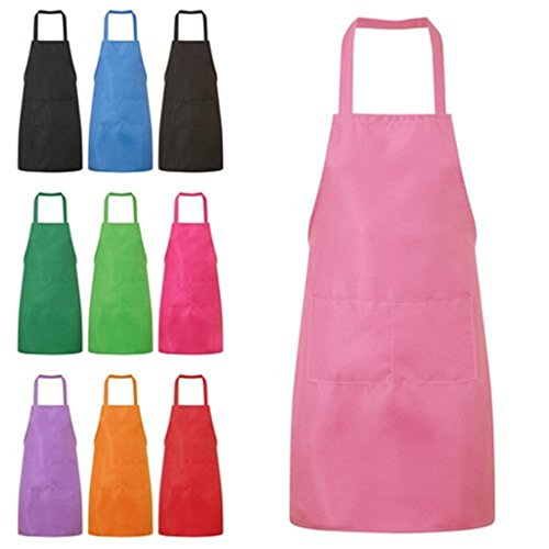 Pink Apron - HMILYDYK Kitchen and Cooking Women's Apron with Convenient Pocket Durable Stripe for Women Professional Stripe Chef Apron for Cooking, Grill and Baking (Pink)