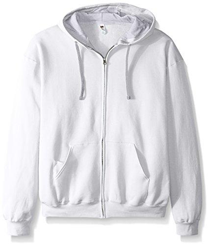Fruit of the Loom Men's Full-Zip Hooded Sweatshirt - Extra Sizes, White, XX-Large