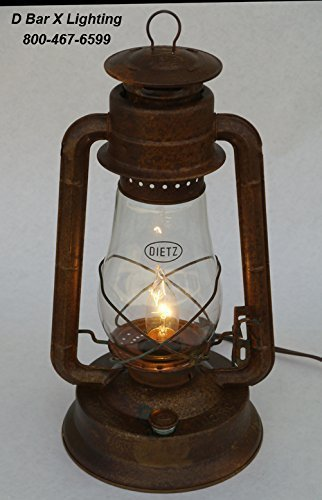 (DX833-15-OFR - 15-inch Dietz Blizzard Electric Lantern Table Lamp - Old-Fashioned Rusty Finish)