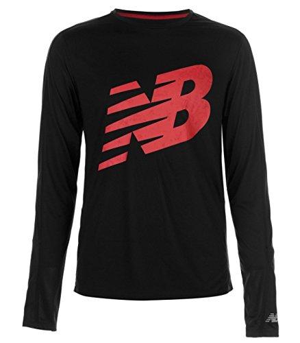New Balance Uomo Sport Maglietta a maniche lunghe maglietta Sweater Nero Rosso tutte le taglie nuovo con etichetta