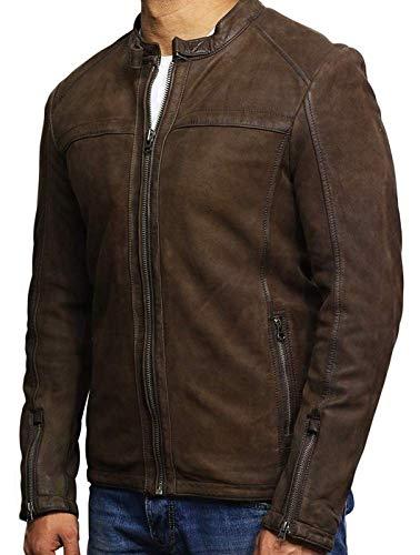 Brandslock Mens Leather Suede Jacket Genuine Slim Fit Designer Look Brown (X-Small) (Mens Jackets Designer Leather)