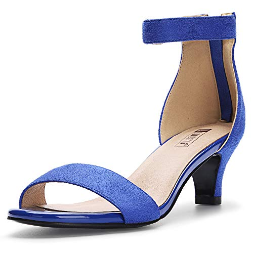 IDIFU Women's IN2 Slim Fashion Stilettos Ankle Strap Open Toe Pump Heeled Sandals Kitten Heel Party Shoes with Zipper (7 M US, Royal Blue Suede)