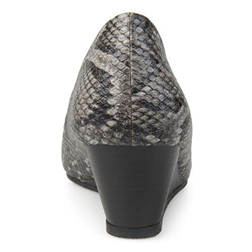 Black Womens Sole Wedges Comfort Journee Collection Peep Snake Toe UqxPwBq4