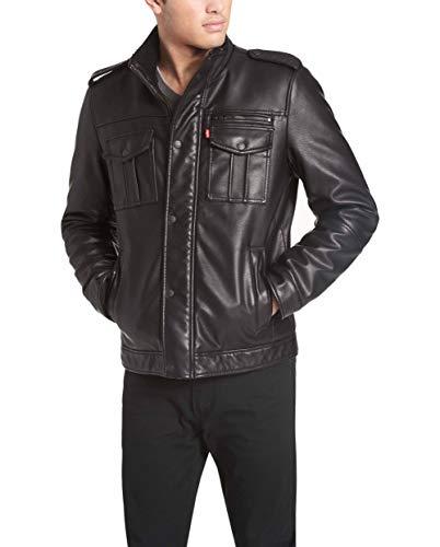 Levi's Men's Vintage Deer Faux Leather Sherpa Military Jacket, Black, Medium