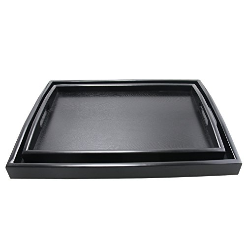 Large Breakfast - DILLMAN Serving Tray Large Black Wood Rectangle Food Tray Butler Tray Breakfast Tray With Handles (Large+Small)