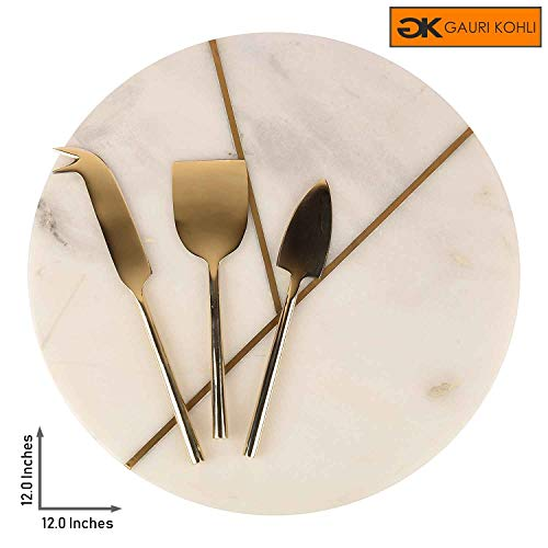 - GAURI KOHLI Beautiful Marble & Brass Cheese Board/Charcuterie Platter; With 3 Pcs. Set Of Brass Cheese Knives (Size Large   Shape Round   Color White)