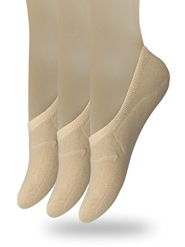 Eedor Women's 3 Pack Thin No Show Socks Non Slip Flat Boat Line Large Beige
