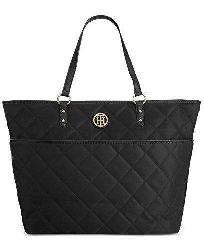 Tommy Hilfiger Quilted Nylon Top Zip Large Shopper Bag Tote Top Handle Handbag (Black)
