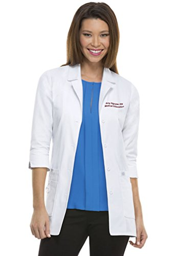 - Embroidered Dickies Women's Junior Fit 3/4 Sleeve Lab Coat (Large, 82402) White