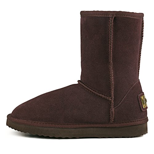 Chocolate Women's Half Boot Boot AUSLAND Classic Winter 2 Leather Snow 8AFwwRqOW