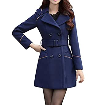 BoodTag Women Winter Overcoat Collared Casual Slim Casacos Jacket Autumn Winter Blue AU 10/TAG XL