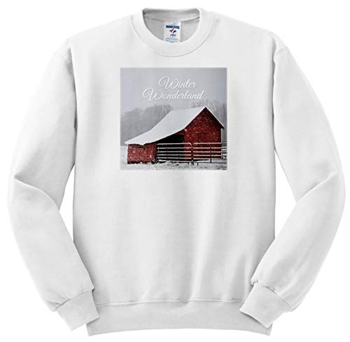 (Stamp City - Typography - Photograph of a red Country barn in a Field of Snow. Winter Wonderland - Sweatshirts - Adult Sweatshirt 3XL (ss_302454_6))