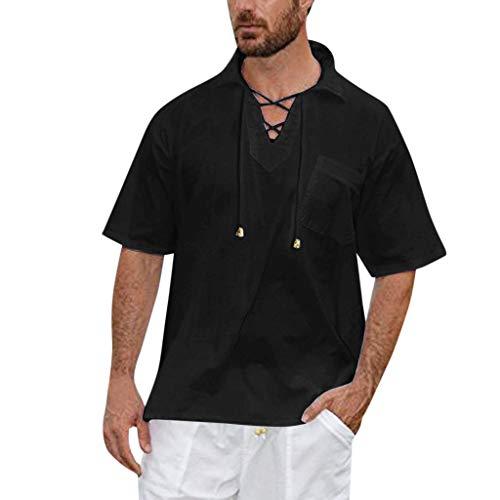 Men's Baggy Solid Short Sleeve V-Neck Drawstring Retro Beach Yoga T Shirts Tops, MmNote Black ()