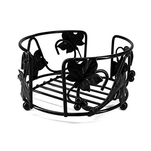Metal Case Set Coaster - YOCEAN Black Iron Metal Coaster Holder For 6 Pcs of Round Coasters - 3.93