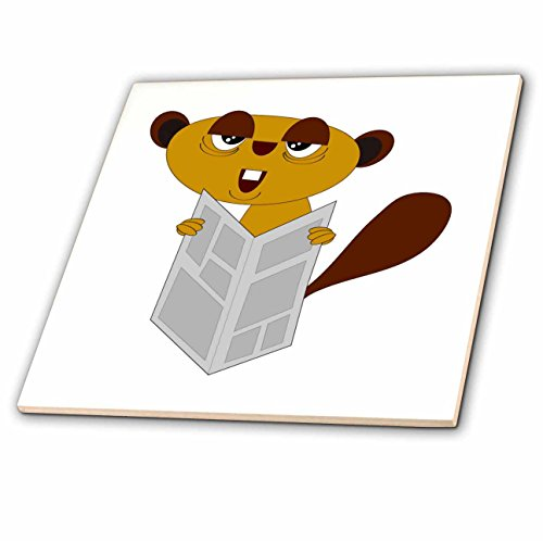 - 3D Rose Image of Young Beaver Reading the Newspaper Ceramic Tile, Multicolor