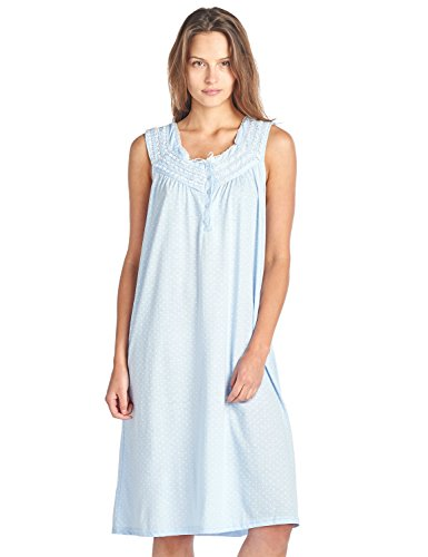 Fancy Lace Trim - Casual Nights Women's Fancy Lace Trim Sleeveless Nightgown - Dot Blue - Medium
