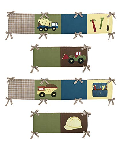 Sweet Jojo Designs Green, Navy Blue, Yellow and Brown Transportation Trucks Baby Crib Bumper Pad for Construction Zone Collection