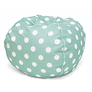 Heritage Kids JK656189 Kids Polka Dot Round Bean Bag Chair, Turquiose