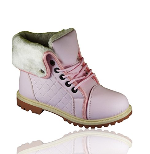 Winter Fashion Snow Ladies Combat Trainers Pink Boots High Womens Top up Sole Ankle Lined Grip Fur Lace Collared Boot Warm Girls U4r7qUZznw