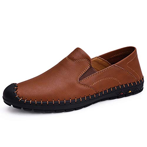 TNGWA& Casual Shoes Men Air Mesh Men Shoes New Slip on Man Loafers Summer Casual Shoes Plus Size 38-46 WW-276 Brown 8.5]()
