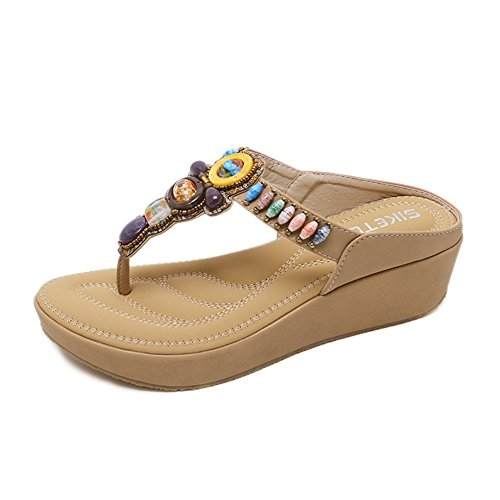 Navoku Womens Leather Thong Sandals Jeweled Platform Sandles Beige 36 5.5 D(M) US ()