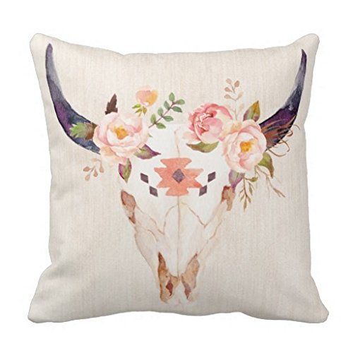 Bull-Head-Skull-Flowers-Watercolor-Illustration-Pillow-Cover-18-inch