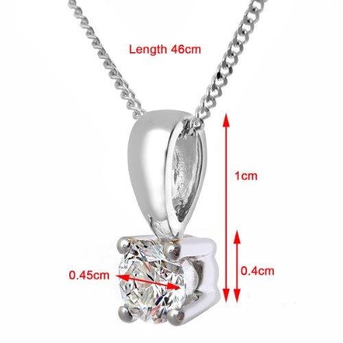 Revoni Bague en or blanc-18carats Solitaire diamant collier pendentif,